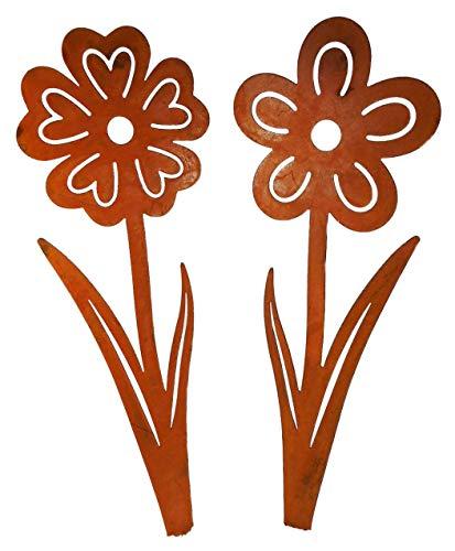 2er Set Beetstecker Blume 28 x 8 cm incl. Stab Rostlook Edelrost Rost Figur Deko GGO 528616