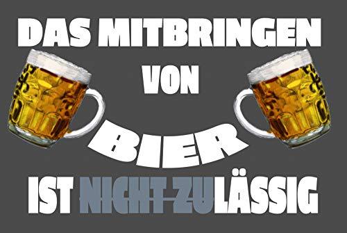 Das Mitbringen von Bier ist zulässig Beer Smiley Blechschild Metallschild Schild gewölbt Metal Tin Sign 20 x 30 cm