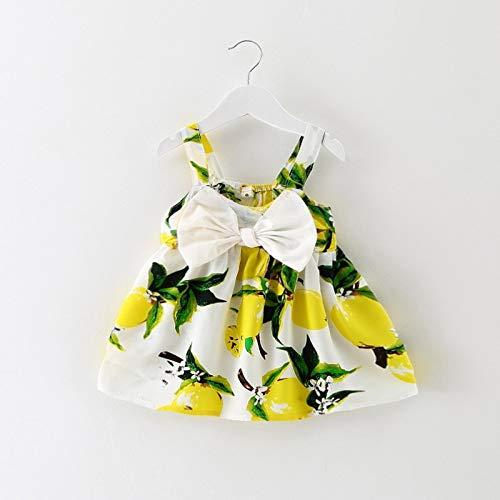 Leuke rok met patroon Jurk kinderen rok leuke rokje patroon mouwloze jurk meisje kleding comfortabel hjm ertongqun (Couleur : C01 yellow, Taille américaine des enfants : 12M)