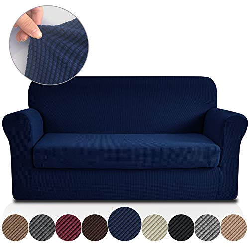 Rose Home Fashion Jacquard Stretch 2 Separate Pieces Sofa Cover, Sofa Slipcover with Separate Cushion Cover Couch-Polyester Spandex Sofa Slipcover&Couch Cover for Dogs(Sofa: Navy)