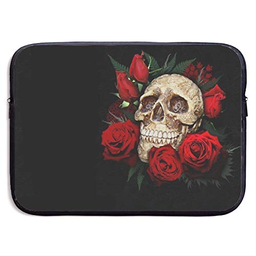 Gao808yuniqi Skull Head Around The Rose Laptop Sleeve Shoulder Bag for Women, Protective Carrying Case Compatible with 13-15 Inch MacBook Pro, Air, Notebook,Slim Sleeve