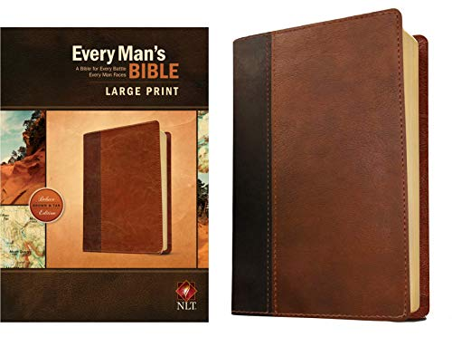 Every Man's Bible: New Living Translation, Large Print, TuTone (LeatherLike, Brown/Tan) – Study Bible for Men with Study Notes, Book Introductions, and 44 Charts