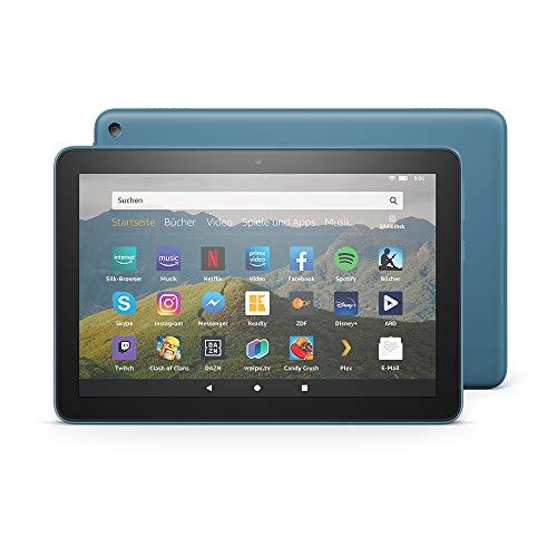 Das neue Fire HD 8-Tablet, 8-Zoll-HD-Display, 32 GB, Dunkelblau mit Spezialangeboten, für Unterhaltung unterwegs