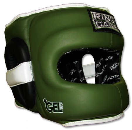 Ring to Cage Deluxe Full Face GelTech Sparring Headgear for Boxing, Muay Thai, MMA, Kickboxing (Regular, Marine Green/Black)