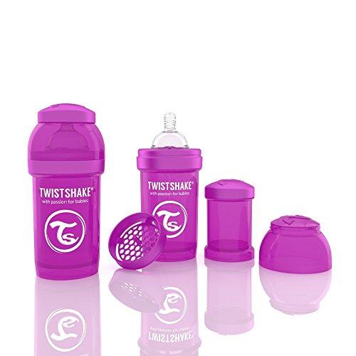 Twistshake 78005 Biberon anti-coliche, Viola, 180 ml