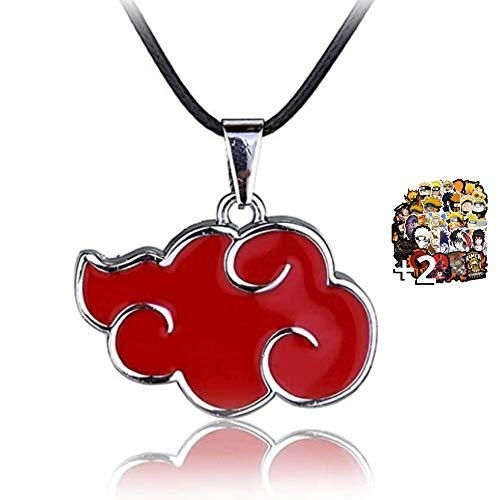 HAND-PRO Collar Naruto (+2 Pegatinas) Collar Akatsuki Colgante Naruto Accesorios Armas Naruto Nube roja