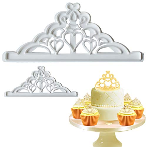 Mity Rain Crown Cookie Cutters Set - Tiara Fondant Cutter Crown and Princess Crown Mold CupCake Decorating Gumpaste Mould, Set of 2