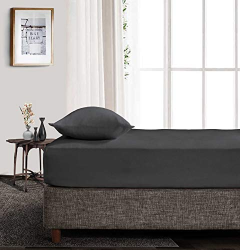 EGYPTIAN COTTON KING Fitted Sheet 600 Thread Count Dark Gray Solid 38 Cm Deep Pocket # Exotic SGI Bedding Europe Collection (One Fitted Sheet Only) …
