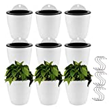 Jucoan 9 Pack Self Watering Hanging Planter, 5 Inch Dua-pots Lazy Flower Pot, White Plastic Wall Hanging Planter Pot with 9 Hooks for Garden Fence, Porch, Wall