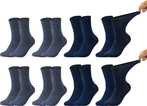 Vitasox 31122-23 Herren Gesundheitssocken extra weiter Bund ohne Gummi, Venenfreundliche Socken mit breitem Schaft verhindern Einschneiden & Drücken, 8 Paar Jeans- Marine 43/46