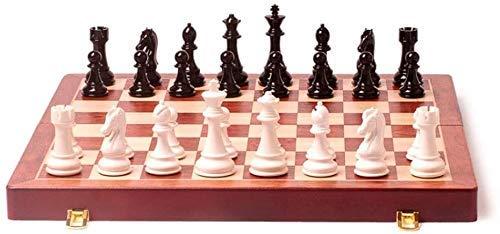 Juego de ajedrez Juego de Viaje para Adultos y niños Tablero de ajedrez Juego de ajedrez de Madera Plegable Tablero Plegable con Piezas de ajedrez Interior para Almacenamiento Tablero de Viaje portát