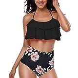 SERAPHY Maillot de Bain Femme 2 pièces Bikini à Taille Haute Plage Bikini Set à Volants Vintage Maillot de Bain rayé Beachwear Culotte à Taille Haute-Fleur Noire-M