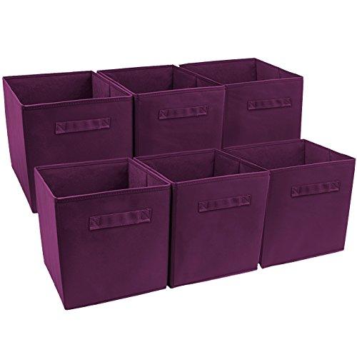 Sorbus Foldable Storage Cube Basket Bin (6 Pack, Purple)