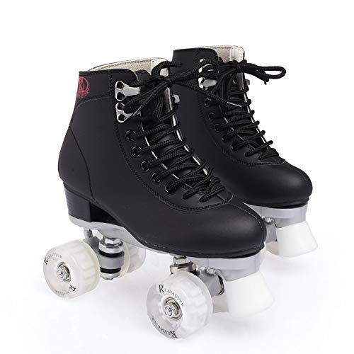 WuJiPeng Leder Rollschuhe Double Line Skates Frauen Männer Erwachsene Two Line Skate Schuhe Patines Mit Flash PU 4 Räder,Black-35EU