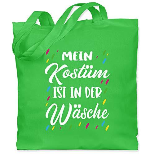 Shirtracer Karneval & Fasching - Mein Kostüm ist in der Wäsche - weiß - Unisize - Hellgrün - Konfetti - WM101 - Stoffbeutel aus Baumwolle Jutebeutel lange Henkel