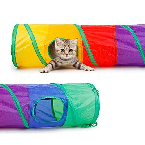 RUOXiAO Cat Tunnel, Indoor Foldable Rainbow Tunnel,Interactive Peek-a-Boo Pet Tube Toy with 2 Hole and Fun Ball for Puzzle Exercising Hiding Training and Running,for Small Pets (Rainbow, Straight)