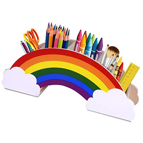 Gamenote portalápices de madera arcoíris, para mesa de niños/útiles de oficina/pincel de maquillaje/organizador escritorio/suministros para aulas (PH1)