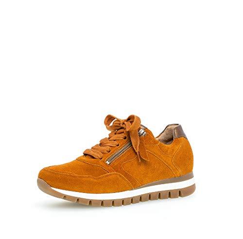 Gabor Damen Sneaker, Frauen Low-Top Sneaker,Comfort-Mehrweite,Reißverschluss,Optifit- Wechselfußbett, Plateau-Sohle,Cayenne/Bronze,39 EU / 6 UK