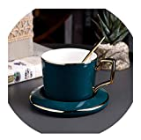 FAT BIG CAT European Ceramic Coffee Cup Set Creative Light Luxury Coffee Cup with Dish Spoon for Home Cafe Office Fun Gifts,A