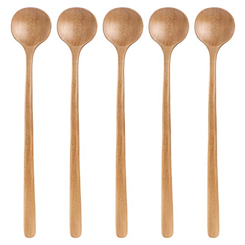 TsunNee 5PCS 10.75inch Long Soup Spoon, Korean Style Natural Wooden Rice Spoon with Round Head Thin Handle, Soup Cooking Mixing Stirrer Kitchen Tools Utensils