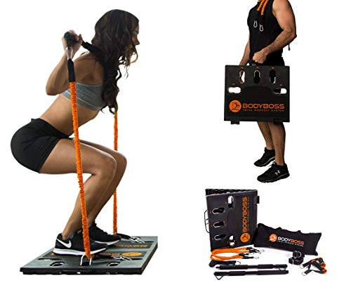BodyBoss Home Gym 2.0 - Full Portable Gym Home Workout Package + 1 Set of Resistance Bands - Collapsible Resistance Bar, Handles - Full Body Workouts for Home, Travel or Outside - Orange