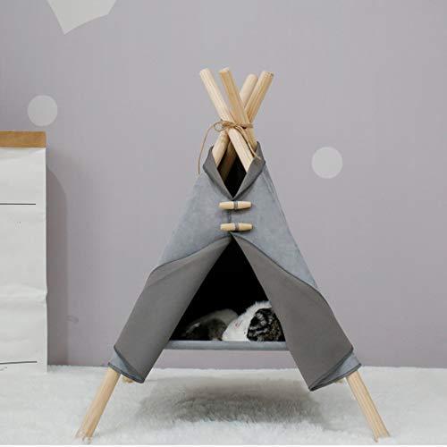 Arkmiido Tende per Gatti Teepee Rimovibile Casetta per Gatti Lavabile per Gatto Piccolo sotto I 6 kg, Interno Esterno 55 X 52,5 X 72 Cm (Grigio)