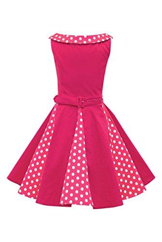 """BlackButterfly Dzieci """"Alexia"""" Zabytkowe Kropki Kropka Lata '50 Dziewczęce Sukienka (Różowy, 3-4 lat)"""