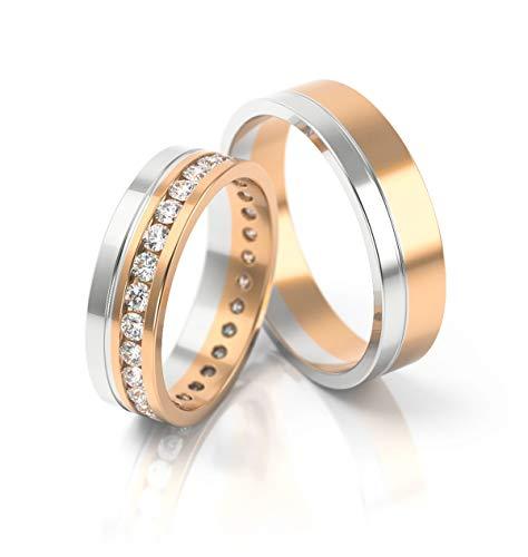JC Gold Trauringe - Rosegold Weißgold Eheringe Bicolor inklusive Steine und Gravur im Paarpreis PL078 (14 Karat (585) Bicolor)