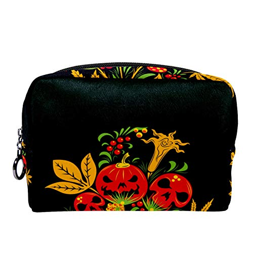 Cosmetic Bag Womens Makeup Bag for Travel to Carry Cosmetics,Change,Keys etc Yellow Skull Flower
