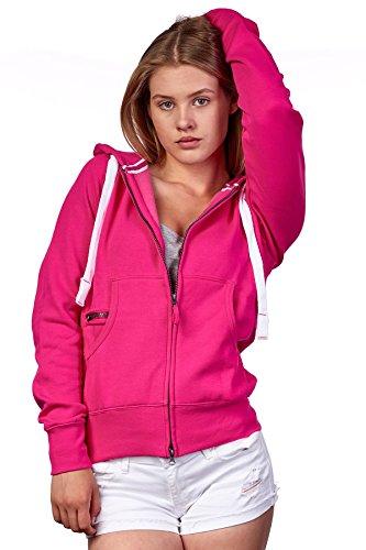 Happy Clothing Damen Sweatjacke mit Kapuze Zip Hoodie Kapuzenjacke Basic Einfarbig S M L, Größe:L, Farbe:Fuchsia
