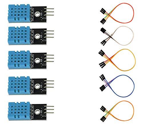 5pcs DHT11 Temperature and Humidity Sensor Module for Arduino UNO MEGA 2560 AVR PIC Raspberry Pi 2 3 4B (Black)