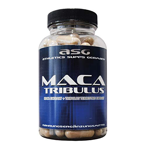Premium Tribulus + Maca Kapseln hochdosiert ideal kombiniert in einem Produkt, 90 Kapseln in Premiumqualität, Hochdosiert,