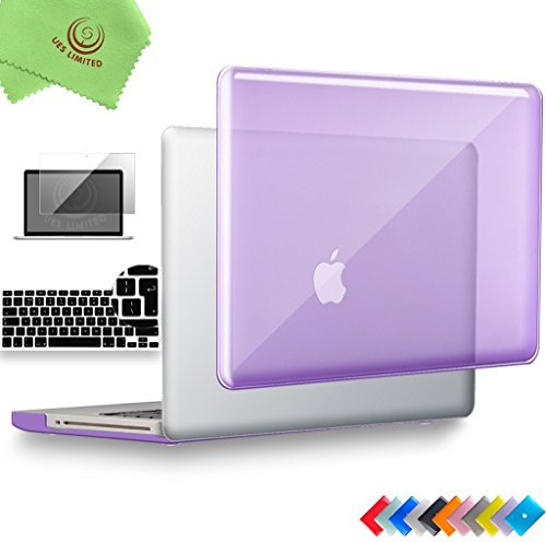 UESWILL 3in1 Glossy Crystal Clear See Through Hard Shell Case Cover for MacBook Pro 13 inch with CD-ROM (Non-Retina)(Model:A1278) + EU/UK Version Keyboard Cover and Screen Protector, Purple