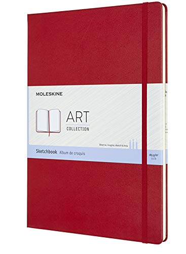 Moleskine Art Sketchbook, Hard Cover, A4 (8.25' x 11.75') Plain/Blank, Scarlet Red, 96 Pages