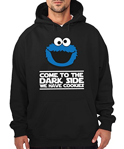 clothinx Herren Kapuzenpullover Dark Side Cookies Schwarz Gr. L