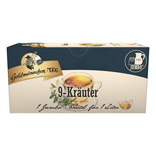 Goldmännchen Jumbo Tee Thüringer 9-Kräuter, Kräutertee, 20 Teebeutel, Große Beutel, 3119