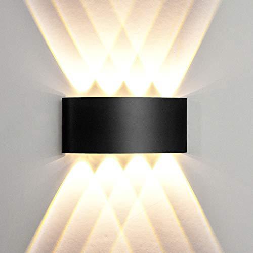 Lámpara de Pared Moderna, 8W Aplique Negro Hacia Arriba y Abajo, Lámpara de Noche para Interiores, Blanca Cálida LED para...
