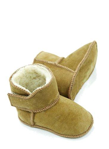 DX-Exclusive Wear Chaussons en peau d'agneau pour bébé, bottes, fermeture velcro, fourrure véritable, chaussons bébé ADB-0001 pour fille, garçon, cuir - - cognac, 22/23 EU