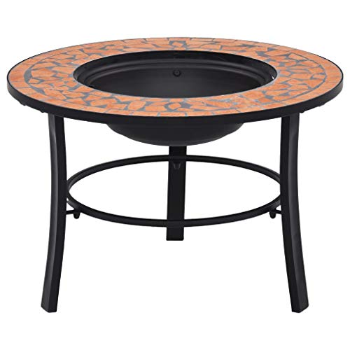 vidaXl Mosaic Fire Pit Firepit Garden Table Patio Stove Chimenea Bowl Outdoor Heater Burner BBQ Barbecue Terracotta 68cm Ceramic Tile