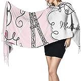 Cachemira de imitación Invierno Bufanda Chal Doodle Marcos en estilo francés Rococó Barroco Linterna Mademoiselle Print Mantón para Mujeres Cálida Grande Larga