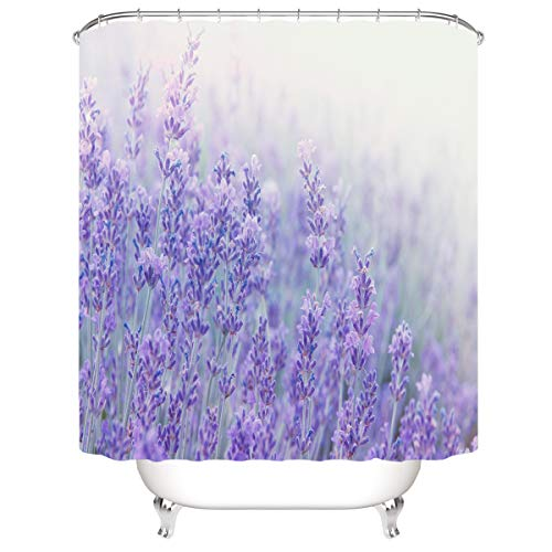 CELLYONE Duschvorhang wasserdicht & Schimmel waschbar Duschvorhang Polyester Stoff 3D Duschvorhang Lavendel Mit Badhaken