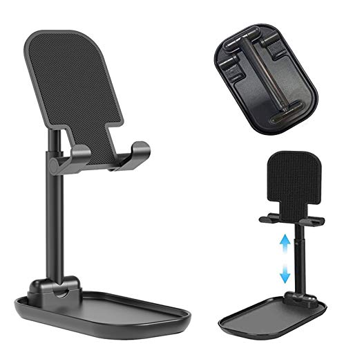 Upgraded Cell Phone Stand for Desk, Foldable Adjustable Desktop Phone Holder Cradle Dock for Home Office Travel Compatible with Smartphone Android, iPhone 11 Xs XR 8 7 Plus, Tablet iPad (Black)