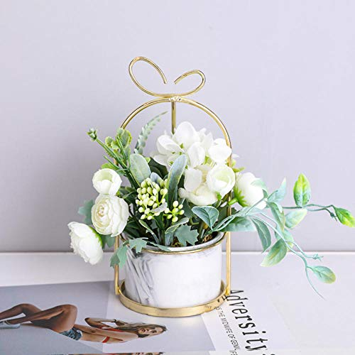 Ksnrang Casa nórdica Flores secas Flores Falsas Flor de simulación Flor Sala de Estar Adornos Ornamentos bouequetes Comedor Mesa de Mesa Floral Muebles de Piso Floral-Mármol Alice - Blanco