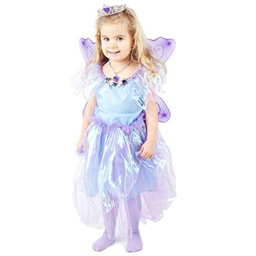 Yolomeo Märchenhaftes Feen Mädchen Kleid violett - Hochwertiges Kostüm Set mit verziertem Diadem, Clip Ohrhängern und Perlenkette - für Kinder von 6-7 Jahre 116-122 cm
