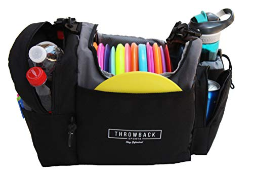 The Throwback Sack - Frisbee Disc Golf Bag with Cooler and Extra Padding, Comfortable Strap - Holds 12-15 Discs and 6 Cold Drinks