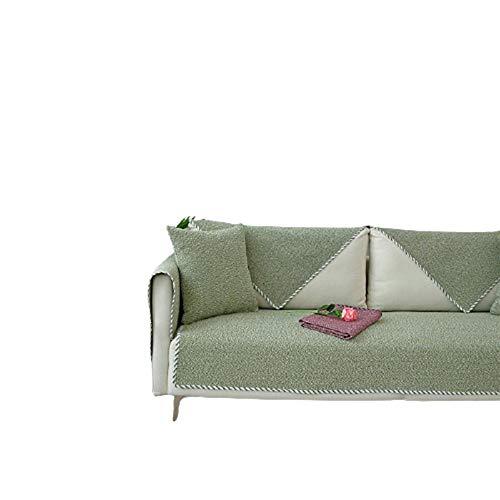Four Season Leinen gewebt Arm Sofa Kissen Pure Farbe Armlehnen Couchbezüge Slipcover,Möbel Protektor,sofahusse ecksofa,Garten Outdoor Couch Schonbezug,Green,110*110cm
