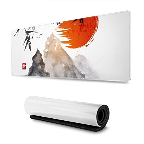 Japanese Bamboo Trees Sun and Mountains Gaming Mouse Pad XL, Extended Large Mouse Mat Desk Pad, Stitched Edges Mousepad, Long Non Slip Rubber Base Mice Pad, 31.5 X 11.8 Inch