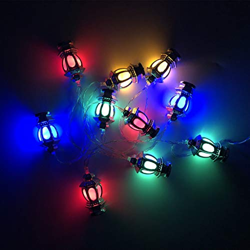 PHILSP String Lights 1.65m 10 Lights Stereo palace lamp LED Eid Mubarak Decorative String Lights Ramadan Kareem Decoration Accessories Muslim Islam Party Supplie Silver Appearance-Coloured Lights