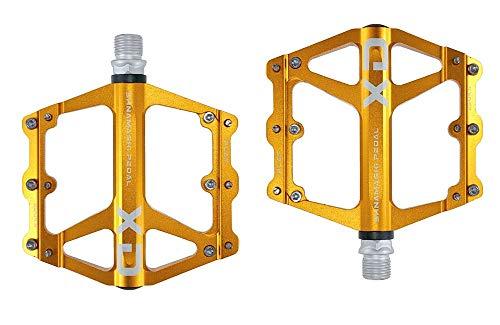 FrontStep Pedales Antideslizantes Generales de Aluminio Pedales de Bicicleta Ligeros con Eje de Acero CR-Mo para MTB/Pedal de Bicicleta de montaña/Pedal BMX (Dorado)