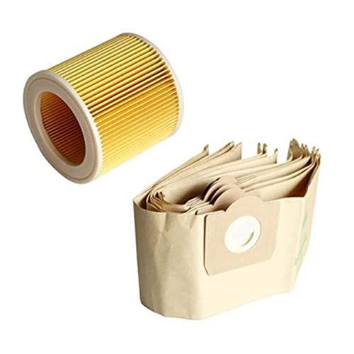 LILIYADAY 5X Bolsa de Polvo 1x FIT FIT for Karcer wd3 Ajuste for la Prima WD 3,300 M WD 3,200 WD3.500 P 6,959-130 Aspiradora (Color : Brown Yellow)